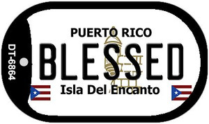 "Blessed Puerto Rico Flag Dog Tag Kit 2"" Wholesale Metal Novelty Necklace"