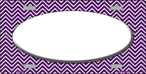 Purple White Chevron Print With White Center Oval Wholesale Metal Novelty License Plate LP-2710