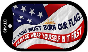 """If you must burn wrap yourself 1st Dog Tag Kit 2"""" Wholesale Metal Novelty Necklace"""