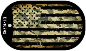 """Camo American Flag Dog Tag Kit 2"""" Wholesale Metal Novelty Necklace"""
