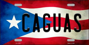Caguas Puerto Rico Flag Background License Plate Metal Novelty Wholesale