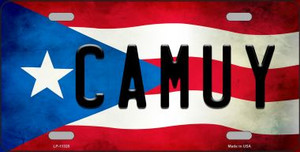Camuy Puerto Rico Flag Background License Plate Metal Novelty Wholesale