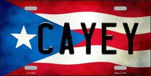Cayey Puerto Rico Flag Background License Plate Metal Novelty Wholesale