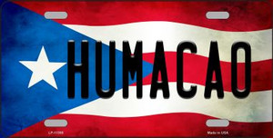 Humacao Puerto Rico Flag Background License Plate Metal Novelty Wholesale LP-11350