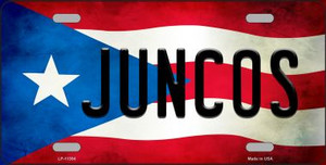 Juncos Puerto Rico Flag Background License Plate Metal Novelty Wholesale