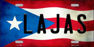 Lajas Puerto Rico Flag Background License Plate Metal Novelty Wholesale
