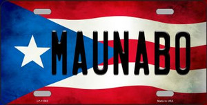 Maunabo Puerto Rico Flag Background License Plate Metal Novelty Wholesale