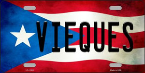 Vieques Puerto Rico Flag Background License Plate Metal Novelty Wholesale