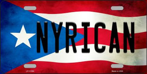 Nyrican Puerto Rico Flag Background License Plate Metal Novelty Wholesale