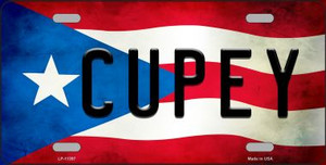 Cupey Puerto Rico Flag Background License Plate Metal Novelty Wholesale