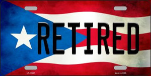 Retired Puerto Rico Flag Background License Plate Metal Novelty Wholesale