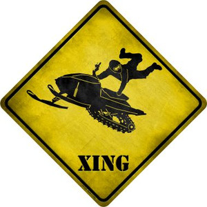 Extreme Snow Mobile Riding Xing Novelty Metal Crossing Sign Wholesale