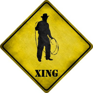 Cowboy With Lasso Xing Novelty Metal Crossing Sign Wholesale