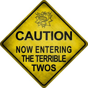 Caution Now Entering The Terrible Twos Xing Novelty Metal Crossing Sign Wholesale