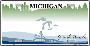 Michigan Novelty State Background Blank Metal License Plate LP-2803