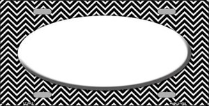 Black White Chevron With Center Oval Wholesale Metal Novelty License Plate LP-2804