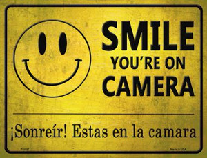Smile You're On Camera -Sonreir Estas En La Camera Parking Sign Wholesale Metal Novelty P-1697