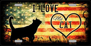 I Love My Cat License Plate Novelty Metal Wholesale