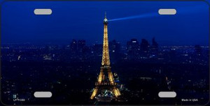 Eiffel Tower - Night With City Skyline License Plate Novelty Metal Wholesale