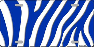 Blue White Zebra Print Wholesale Metal Novelty License Plate LP-2907