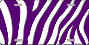 Purple White Zebra Print Wholesale Metal Novelty License Plate LP-2909