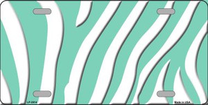 Mint White Zebra Print Wholesale Metal Novelty License Plate LP-2914
