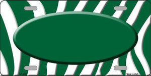 Green White Zebra Print Green Center Oval Wholesale Metal Novelty License Plate LP-2915