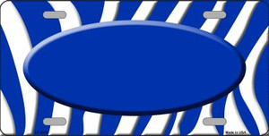 Blue White Zebra Print Blue Center Oval Wholesale Metal Novelty License Plate LP-2916