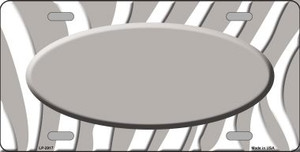 Grey White Zebra Print Grey Center Oval Wholesale Metal Novelty License Plate LP-2917
