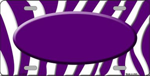 Purple White Zebra Print Purple Center Oval Wholesale Metal Novelty License Plate LP-2918