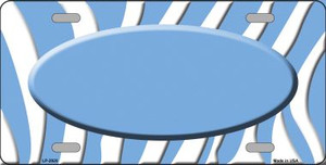 Light Blue White Zebra Print Light Blue Center Oval Wholesale Metal Novelty License Plate LP-2920