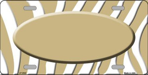 Gold White Zebra Print Gold Center Oval Wholesale Metal Novelty License Plate LP-2922