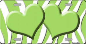 Lime Green White Zebra Print With Lime Green Centered Hearts Wholesale Novelty License Plate LP-2927
