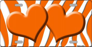 Orange White Zebra Print With Orange Centered Hearts Wholesale Novelty License Plate LP-2928