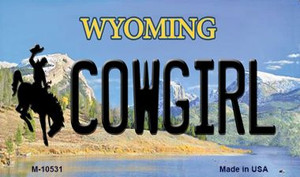 Cowgirl Wyoming State License Plate Wholesale Magnet