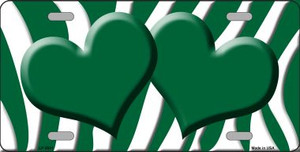 Green White Zebra Print With Green Centered Hearts Wholesale Novelty License Plate LP-2931