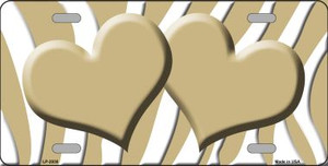 Gold White Zebra Print With Gold Centered Hearts Wholesale Novelty License Plate LP-2938