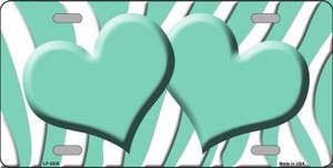 Mint White Zebra Print With Mint Centered Hearts Wholesale Novelty License Plate LP-2939