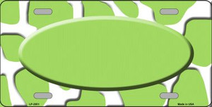 Lime Green White Giraffe Print With Lime Green Center Oval Wholesale Metal Novelty License Plate LP-2951