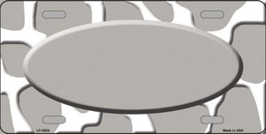 Grey White Giraffe Print With Grey Center Oval Wholesale Metal Novelty License Plate LP-2954