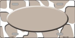 Tan White Giraffe Print With Tan Center Oval Wholesale Metal Novelty License Plate LP-2957