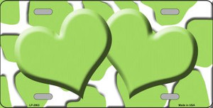 Lime Green White Giraffe Print With Lime Green Centered Hearts Wholesale Novelty License Plate LP-2963