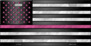 Thin Pink Line With Pink Stars Novelty Wholesale License Plate