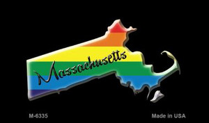 Massachusetts State Outline Rainbow Wholesale Magnet