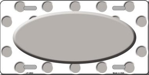 Grey White Polka Dot Print With Grey Center Oval Wholesale Metal Novelty License Plate LP-2992