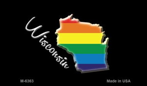 Wisconsin State Outline Rainbow Wholesale Magnet