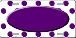 Purple White Polka Dot Print With Purple Center Oval Wholesale Metal Novelty License Plate LP-2993