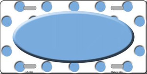 Light Blue White Polka Dot Print With Light Blue Center Oval Wholesale Metal Novelty License Plate LP-2995