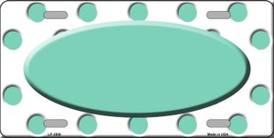 Mint White Polka Dot Print With Teal Center Oval Wholesale Metal Novelty License Plate LP-2998