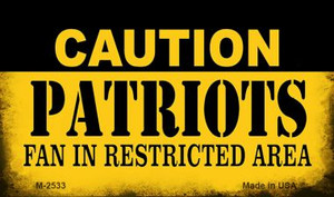Caution Patriots Fan Area Wholesale Magnet M-2533
